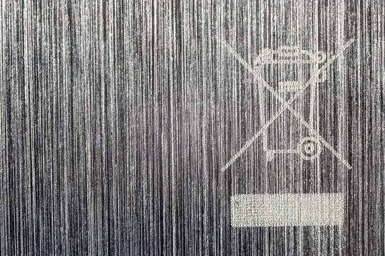 Waste Electrical and Electronic Equipment symbol on Aluminum background
