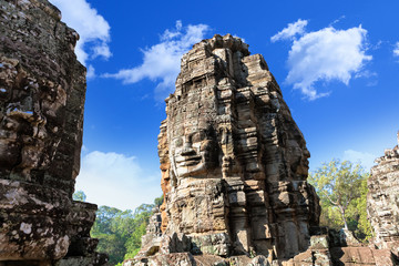 Wat Bayon temple face in Angkor, Cambodia