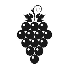 Bunch of grapes with leaves. Set. Vector illustration.