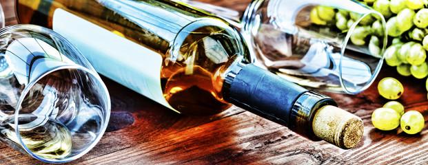 Aluminium Prints Vineyard Bottle of white wine. Thanksgiving.