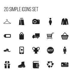 Set Of 20 Editable Shopping Icons. Includes Symbols Such As Madam, Photographing, Cardigan And More. Can Be Used For Web, Mobile, UI And Infographic Design.