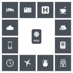 Set Of 13 Editable Journey Icons. Includes Symbols Such As Aircraft, Mobile Phone, Camera And More. Can Be Used For Web, Mobile, UI And Infographic Design.