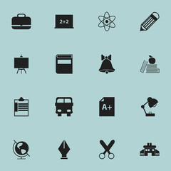 Set Of 16 Editable School Icons. Includes Symbols Such As Painter's Stand, Textbook , Molecule. Can Be Used For Web, Mobile, UI And Infographic Design.