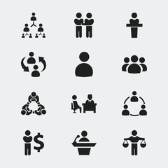 Set Of 12 Editable Business Icons. Includes Symbols Such As Hierarchy, Male, Member And More. Can Be Used For Web, Mobile, UI And Infographic Design.