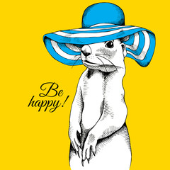 Portrait of a gopher wearing blue summer sun hat on yellow background. Vector illustration.