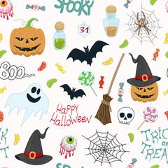 halloween kids vector pattern