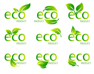 Eco Friendly Organic Natural Product Green Logo. Set of green word Eco with green leaf. Vector Illustration
