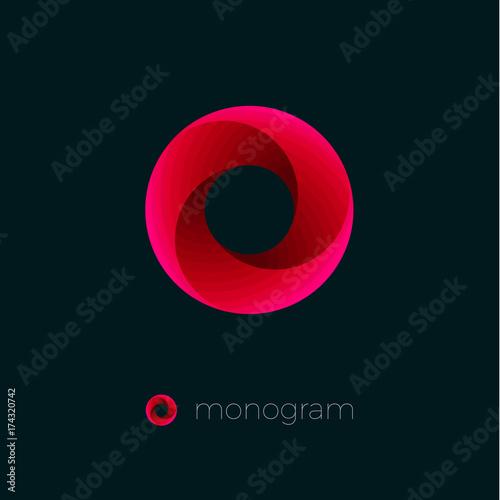 vortex logo red letter emblem o monogram dynamic swirl stock