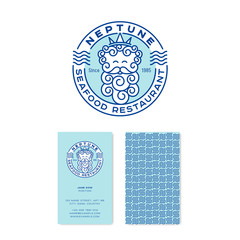 Neptune logo. Poseidon logo. Seafood restaurant emblems. Neptun in the crown with letters in the circle badge. Linear logo. identity. Business card.