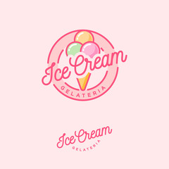 Logo Ice cream. Italian ice cream emblem. Ice cream in a waffle cone with letters in a circle.