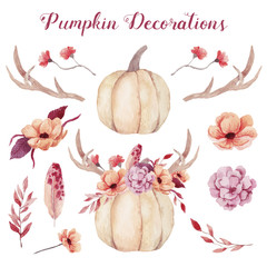 Watercolor pumpkins with flowers,plants and horns.
