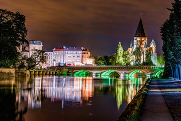 Cityscape with Temple Neuf at night in Metz, Lorraine, France