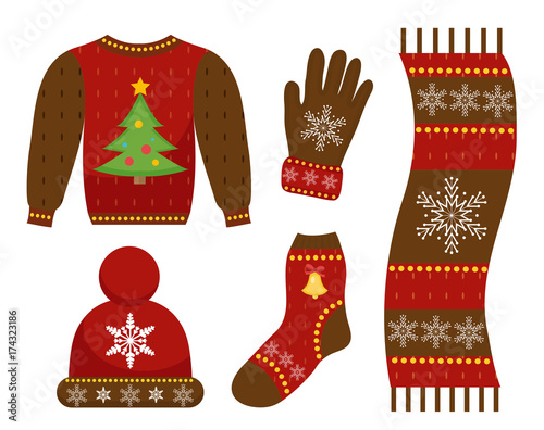 winter warm clothes icon set flat style christmas clothing apparel