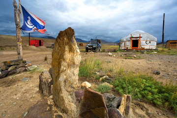 Desert of Mongolia, Yurt-home. The Flag Of Mongolia.