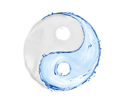 Symbol Yin Yang made of water splashes and cosmetic cream on white background
