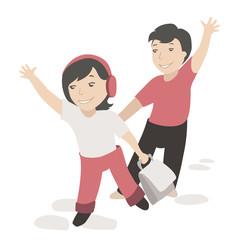 Two children waving their hands
