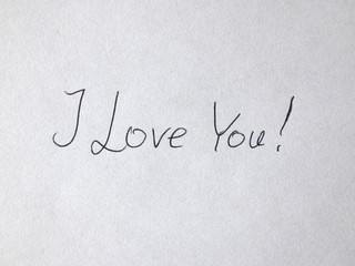 I Love You Handwritten On Paper