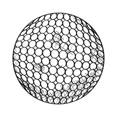 Isolated sketch of a golf ball, Vector illustration