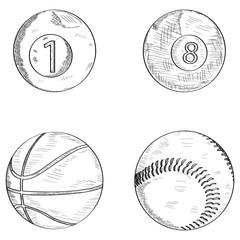 Set of sketches of sport balls, Vector illustration