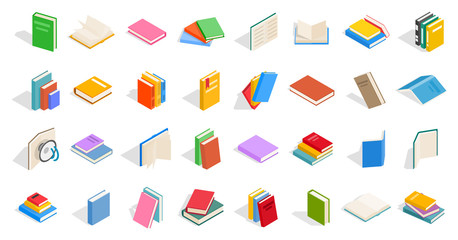 School books icon set, isometric style
