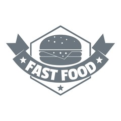 Fast food burger logo, simple gray style