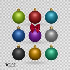 set of colorful christmas balls on transparent background vector illustration