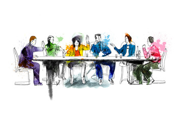 Silhouettes of successful business people working on meeting. Sketch with colourful water colour effects