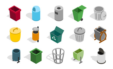 Type of street office can icon set, isometric style
