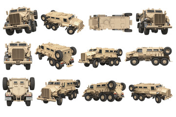 Truck military beige armored army transport set. 3D rendering