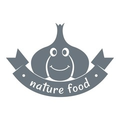 Garlic logo, simple gray style