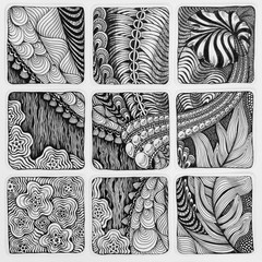 Zentangle abstract illustration. Doodle hand-drawing, patterns.