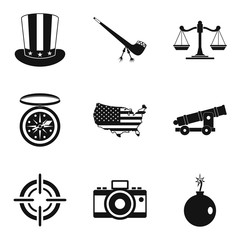 Freedom icons set, simple style