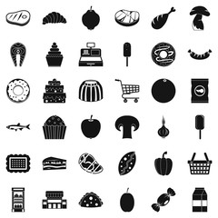 Food shopping icons set, simple style