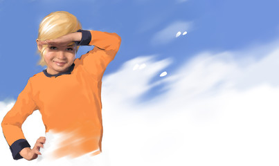 Девочка на фоне голубого неба