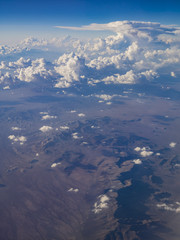 Aerial view of desert and Lucerne Valley, view from window seat in an airplane