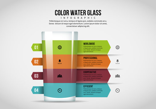 4 Color Water Glass Infographic