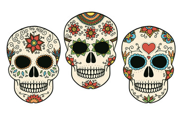 Hand drawn vector day of the dead skulls