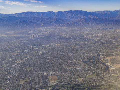 Aerial view of West Covina, view from window seat in an airplane