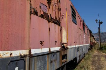 Abandoned railway train in Albania