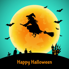 Halloween background   with  witch,  silhouette,  castle  and moon.