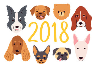 Hand drawn dogs set for 2018 New Year. Vector greeting card.