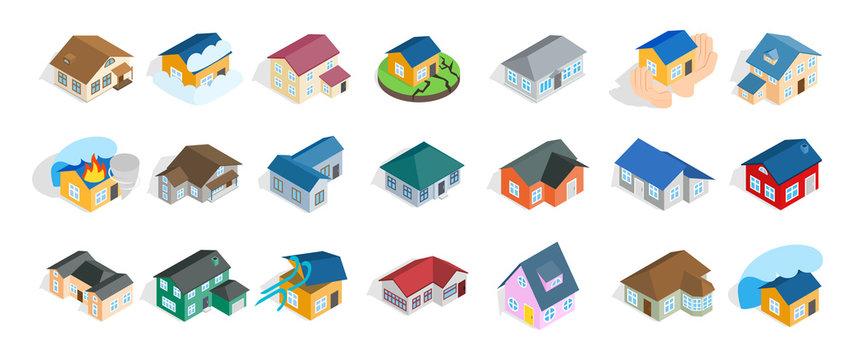 Modern house icon set, isometric style