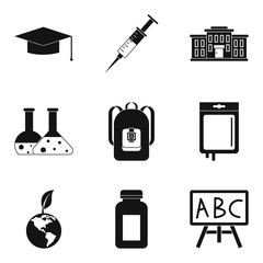 School chemistry icons set, simple style