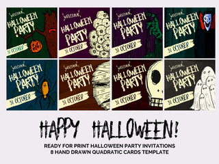 Vector set of Halloween holidays hand drawn party invitation or greeting card with handwritten calligraphy.