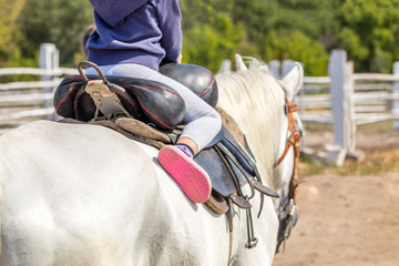 Little girl sitting in a saddle on a horse back and having fun riding along wooden fence at farm or...