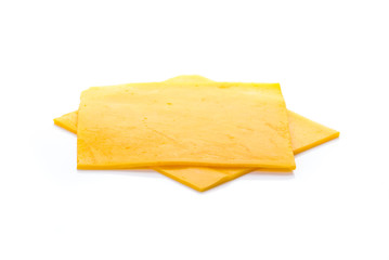 cheddar cheese on white background