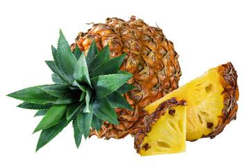 Fototapete - Fresh pineapple isolated on white