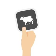 Hand hält graue Karte - Kuh