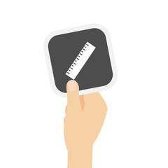 Hand hält graue Karte - Lineal