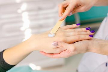 beautician causes treatment cream